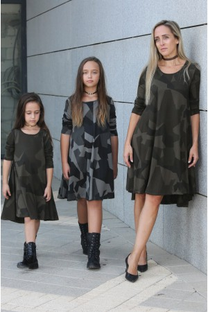 גאומטריות, מסתובבות תואמות לאם ולבת mom & me מחיר לשתי שמלות