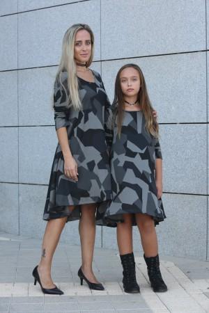 גאומטריות באפור לאם ולבת mom & me מחיר לשתי שמלות