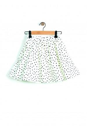 חצאית לבן שחור נקודות מסתובבת