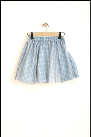 חצאית טול גינס משובץ