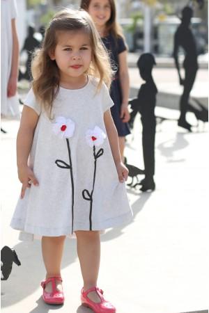 הפרחונית המסתובבת של Cuties בצבע אפור מלאנז ואפליקצית פרחים.