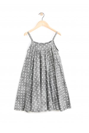 שמלת כתפיות אפורה נקודות לבנות