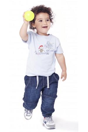 חולצה הדפס שפן תכלת לתינוקות וילדים קטנים