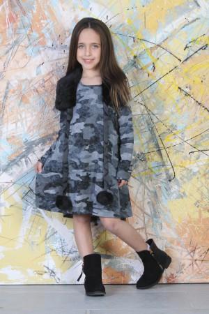 שמלת ילדות בהדפס קומופלאז צבע אפור