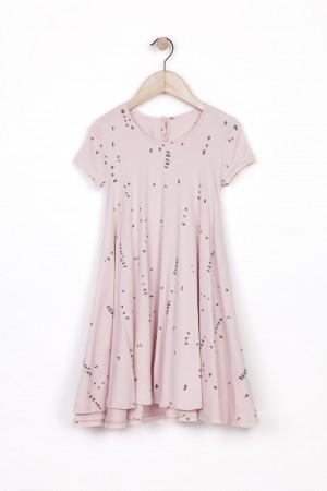 שמלה קולית ומסתובבת  ורודה נקודות אפור