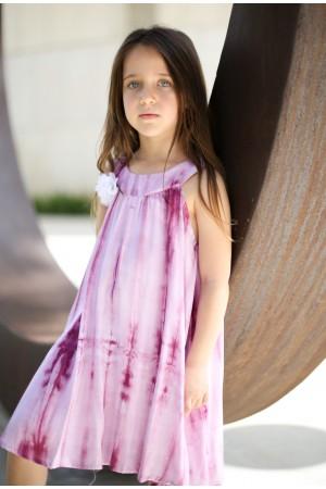 שמלת Tye dye מסתובבת בצבע ורוד